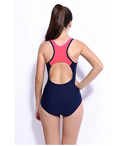 Vestido Pequeño Trozo Unión De Correas Conservadora Del Bikini / Traje De Baño De Gran Aptitud Frunce Del Pecho blue + red