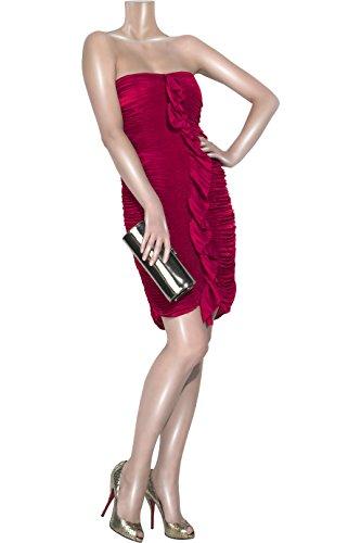 Diane von Furstenberg Fermina Pleated Satin Bustier Dress (8 US, Crimson - Dress Von Diane Red Furstenberg