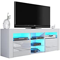 Milano 145 Modern TV Stand Matte Body High Gloss Fronts (WHITE)