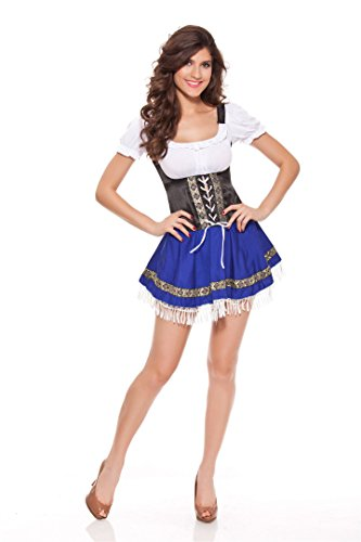 Womens Cosplay Gretchen Dirndl Serving Wench Bavarian Bar Maid Party Cartoon Costume (Bar Maid Halloween Costume)