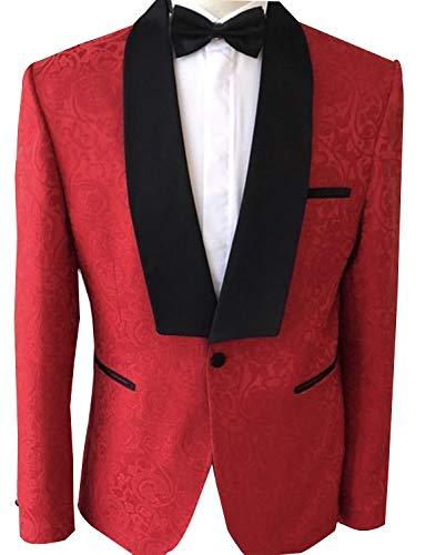 UMISS Men's Jacquard Jacket Party Dress Stylish Dinner Wedding Blazer Prom Jacket -