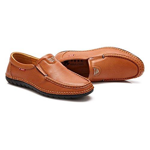 Mocassini Fashion Opzionale Mocassini Vera Orange Casual Perforazione in Slip Classica on Uomo Pelle in ZX Pelle qX8fpp