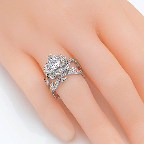 Newshe Jewellery Round White Cz 925 Sterling Silver Flower Wedding Band Engagement Ring Sets Size 7