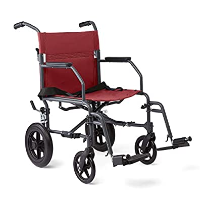 Medline Transport Wheelchair with Lightweight Steel Frame, Microban Antimicrobial Protection, Folding Chair is Portable