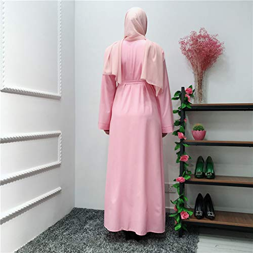 Sayhi Muslim Fashion Women's Beaded Cardigan Robes Arabian Traditional Loose Dress Slamic Dresses(Pink,XL) by Sayhi (Image #3)