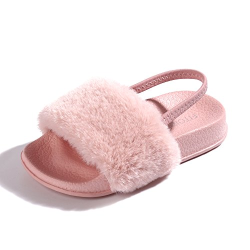 FITORY Girls Sandals Toddler, Faux Fur Slides with Elastic Back Strap Flats Shoes for Kids ()