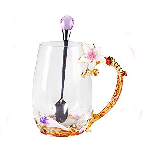 Creative Handmade Enamel Home Decration Enamel Flower Crystal Glass Coffee Tea Water Cup (37CL, Lily)
