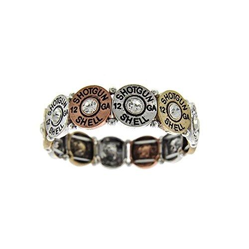 Antiqued Flattened Bullet Bracelet with Crystal Detail [stamped