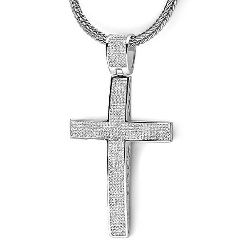 2.00 Carat (ctw) Sterling Silver White Diamond Micro Pave Mens Hip Hop Style Religious Cross Pendant Necklace