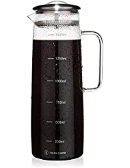 The Bold Home COLD BREW Coffee Maker Glass Pitcher with Easy-clean Filter, Large. Iced Coffee, Iced Tea Brewer and Water Infuser