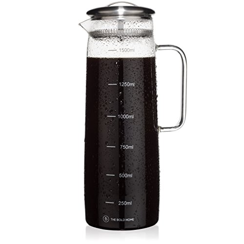COLD BREW Coffee Maker Beaker Pitcher with Easy-clean Filter, Large. Iced Coffee, Iced Tea Brewer and Water Infuser