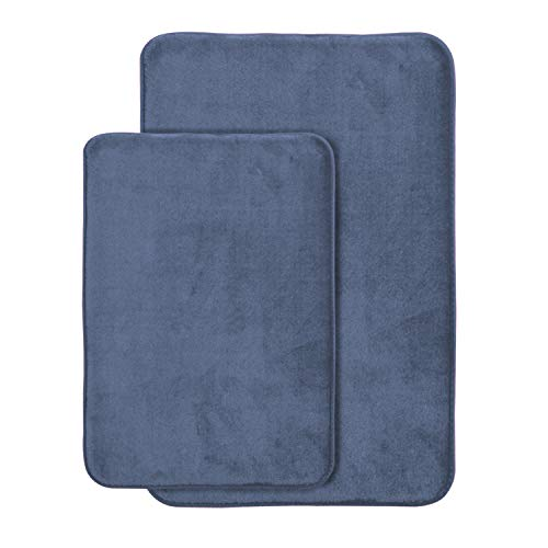 AOACreations Non Slip Memory Foam Bathroom Bath Mat Rug 2 Piece Set, Includes 1 Large 20