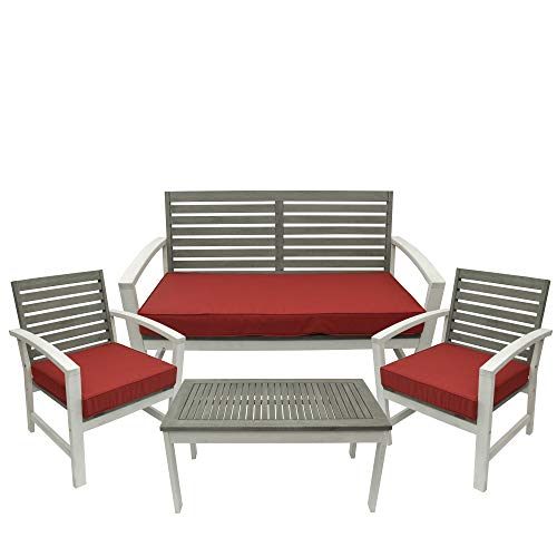 Diva At Home 4-Piece Gray and White Acacia Wood Patio Table and Chair Furniture Set - 48