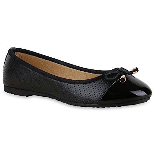 Stiefelparadies Damen Ballerinas Lack Schleifen Flats Zierperlen Nieten Metallic Schuhe Slippers Velours Cut-Outs Leder-Optik Übergrößen Flandell Schwarz