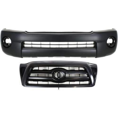 - Bumper Cover Kit Compatible with Toyota Tacoma 2005-2010 Set of 2 With Front Bumper Cover and Grille Assembly Base/Prerunner Models 2WD /4WD