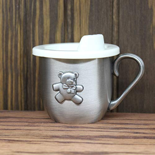 CENTER GIFTS Pewter Teddy Bear Baby Cup Personalized | Custom Sippy Cup for Toddlers | Gift for Baby's Birthday, Christening, Baptism, Christmas | Engrave with Name