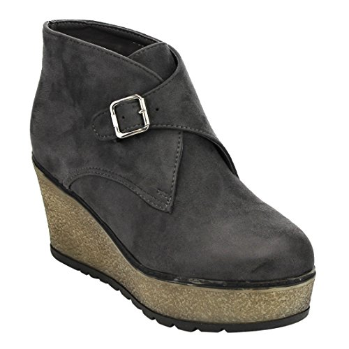 Beston EJ33 Womens Buckle Strap Platfrom Wedge Ankle Booties Half Size Small Grey