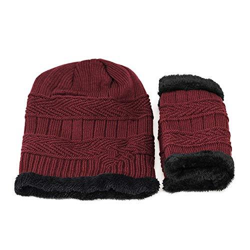 Winter Hats for Men Beanies Neck Warmer Knit Hat Skullies Cap Scarf Sets,2 PCS Red, ()