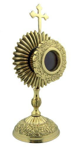 Catholic Altar - Personal Reliquary Relic Case 6 Inch Brass Sacred Vessel Host Container with Budded Cross