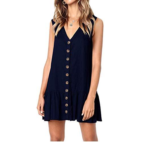 Gahrchian Women Dress V Neck Button Dress Sleeveless Party Dress Ruffle Beach Dress Office Work Skirts Dress Navy