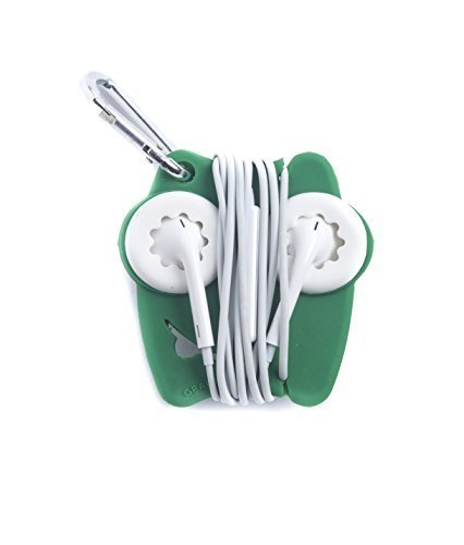 Grapperz Earbud Holder / Protector / Cord Wrap - Green & White