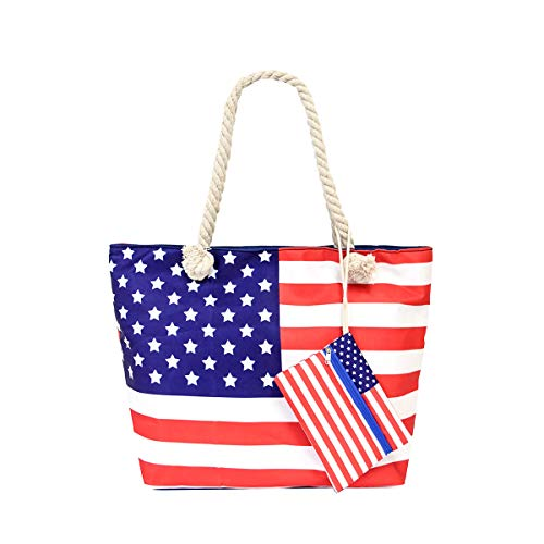 Canvas Tote Beach Shopping Bag Travel Zipper Shoulder Bag with Pouch Set, American Flag