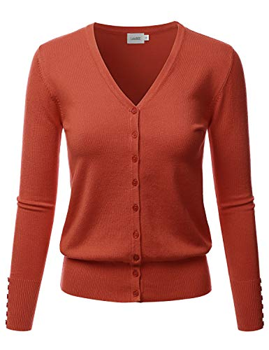 LALABEE Women's V-Neck Long Sleeve Button Down Sweater Cardigan Soft Knit-Rust-S