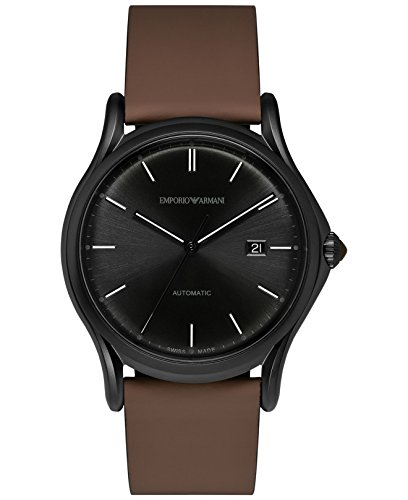 Emporio Armani Swiss Made Men's Quartz Stainless Steel and Leather Dress Watch, Color:Brown (Model: ARS3017)