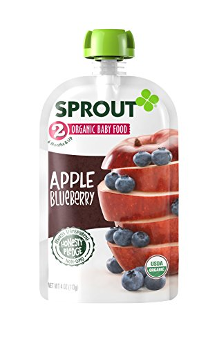 Sprout Organic Baby Food Stage 2 Pouches, Apple Blueberry, 4 Ounce (Pack of 5)