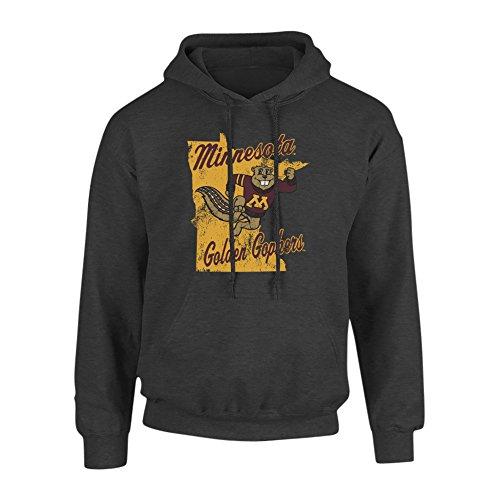 Elite Fan Shop Minnesota Golden Gophers Hooded Sweatshirt Heather Gray - XXL - Charcoal