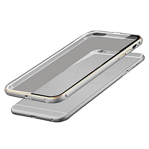 """Metall Abdeckung - TOOGOO(R)Ultraduenne Aluminium Metall Huelle fuer iPhone 6 4.7"""" Silber + Transparent"""