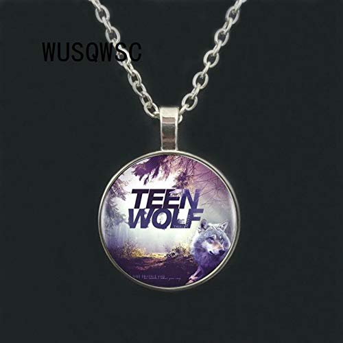 Mens necklace Best Selling Teen Wolf Logo Glass Pendant And Necklace Female//Male Vintage Cabochon Sale