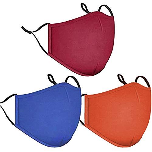 Fashion Cloth Fabric Face Washable Protection, Earloop Bandana Balaclava Black Dust Men and Women Reusable Mask,Reusable,Washable (Red+Blue+Orange)