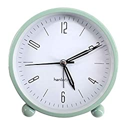 Sherry Nightlight Alarm Clock 4 Round Silent Alarm Clock Bedside Desk Non-Ticking Travel Clock Battery Operated Green