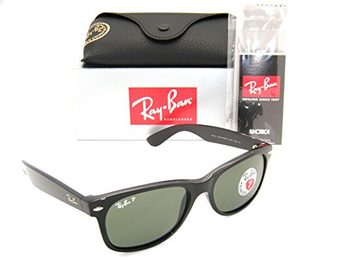 Ray-Ban New Wayfarer Black W/ Green Polarized Lenses RB 2132 901/58 58mm - Ban Wayfarer Polarized 58mm New Ray