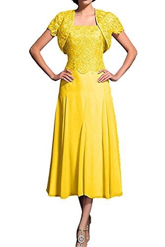 Flieder Spitze mia La mit Kurzarm Abschlussballkleider Wadenlang Gelb Herrlich Braut Promkleider Abendkleider Ballkleider Bolero tU4xxIw