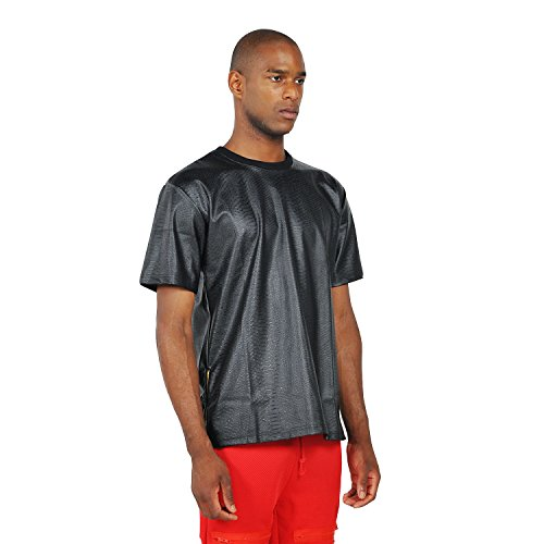 Pizoff Unisex Hip Hop Luxury Short Sleeve Crew Neck Alligator PU Leather Oversized Black T-shirt Y0187-black-L