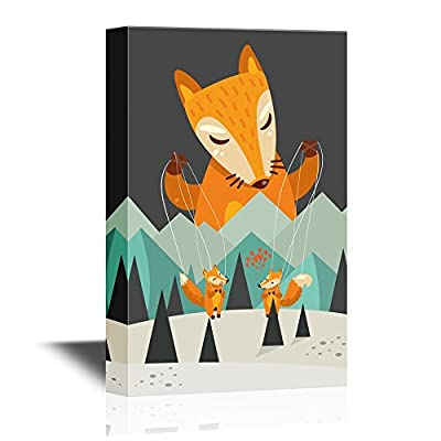 Canvas Wall Art - Cartoon Fox Marionette with Fox Lovers - Gallery Wrap Modern Home Art   Ready to Hang - 12x18 inches
