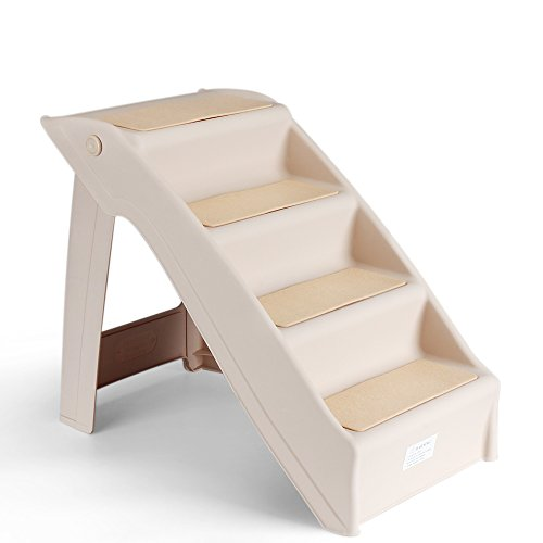 Flexzion Pet Stairs Folding Dog Cat Animal Step Ramp Ladder Foldable Plastic Portable for Tall Bed Indoor Outdoor Decor Supply Easy Store in Beige