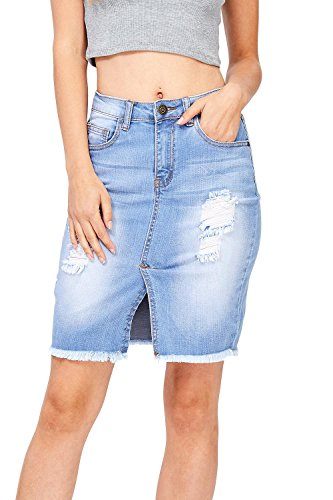 Machine Jeans Juniors Distressed High Waist Denim Pencil Skirt (S, Light Denim) (Rise Denim Pencil Skirts)