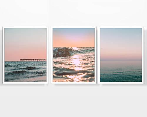 Sunset & Sunrise Beach Themed Photography prints, Set of 3, UNFRAMED, ocean pier, dock, waves, coastal, Wall art decor poster sign, 8x10 ()