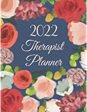 Therapist Planner 2022: Weekly and Monthly Time Frame, Daily and Hourly 15 Minutes Increment Appointment, 52 Week Monday To Sunday 8 AM To 9 PM with Flower Painting Cover