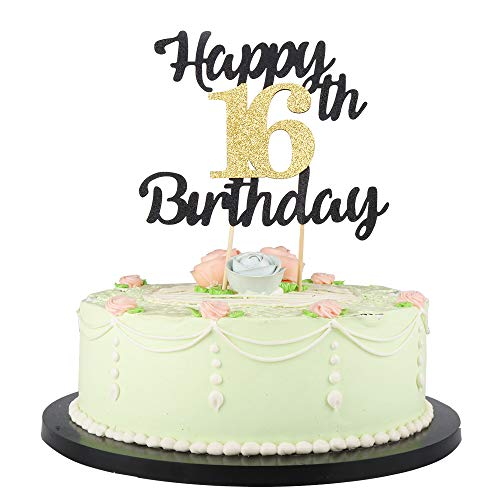 LVEUD Happy Birthday Cake Topper Black Font Golden Numbers 16th Birthday Happy Cake Topper -Birthday Party Decorations (16th)]()