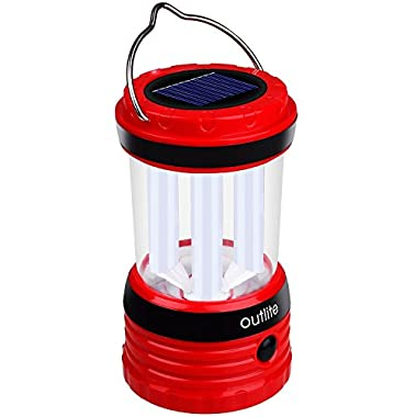 [Solar Power] Outlite 240 Lumen Solar Rechargeable LED Camping Lantern Flashlight, Portable Water Resistant Outdoor Survival Lamp for Hiking Fishing Emergency Outages (Red)