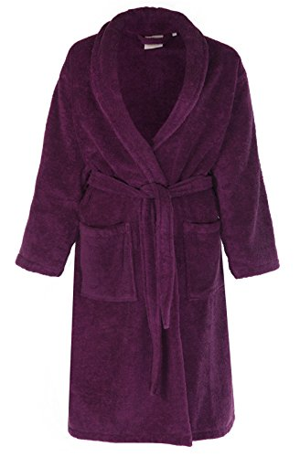 Men s Women s 100% Egyptian Cotton Terry Towelling Bathrobes 22 Colours  Free Post (Aubergine) 370c6c4f5