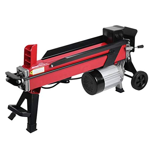 GOGOUP Electric Hydraulic Log Splitter, 7 Ton Powerful Firewood Wood Kindling Cutter with Mobile Wheels