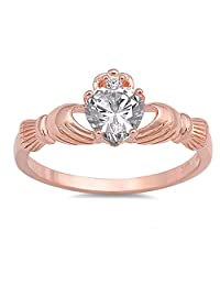 Rose Gold-Tone Rainbow Simulated Topaz Heart Claddagh Sterling Silver Ring Sizes 4-10
