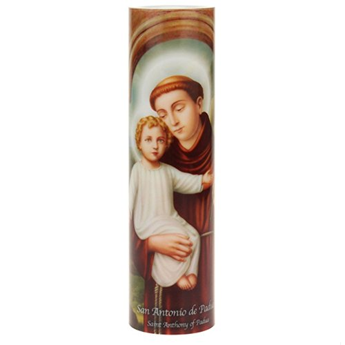 The Saints Collection Saint Anthony, LED Flameless Devotion Prayer Candle 4 Hour Timer, Religious Gift