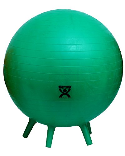CanDo Non-Slip Inflatable Exercise Ball with Stability Feet for Exercise, Workout, Core Training, Stability, Yoga, Pilates and Balance Training in Gym, Office, Home or Classroom. Green, 26 (65 cm)