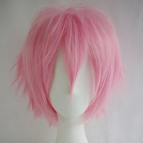 Women Mens Short Fluffy Straight Hair Wigs Anime Cosplay Party Dress Costume Wig (Pink) (Adult Short Pink Wig)